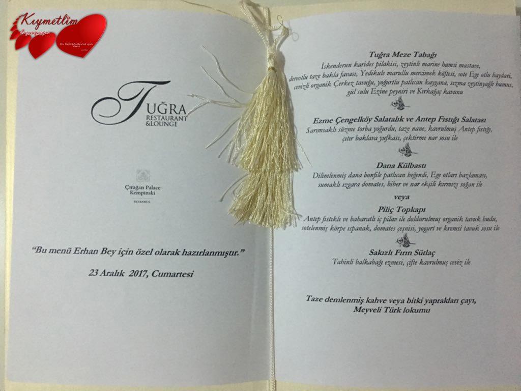 Çırağan sarayı - isme özel menü - çırağan sarayında yemek - çırağan sarayında evlilik teklifi - Kıymetlim organizasyon
